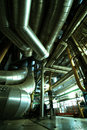 Industrial zone steel pipelines and ducts equipment Royalty Free Stock Photography