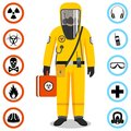 Industry concept. Detailed illustration of worker in yellow protective suit. Safety and health vector icons. Set of