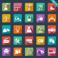 Industry icons flat design set of Stock Image