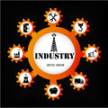 Industry icons over black background vector illustration Stock Photography