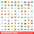 100 industry icons set, cartoon style