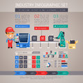 Industry Infographic Set with Factory Conveyor and