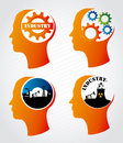 Industry mind over lineal background vector illustration Stock Photography