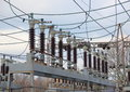 Industry power plant with high voltage power line Royalty Free Stock Image