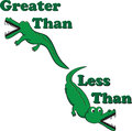 Inequality alligators illustrated with greater than and less than symbols to help teach and remind students which symbol is Stock Photography