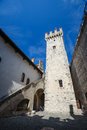Ineror court of medieval castle Scaliger in old town Sirmione on lake Lago di Garda, Northern Italy Royalty Free Stock Photo