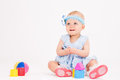 Infant age ten months on a white background Royalty Free Stock Photos