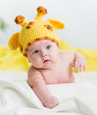 Infant baby boy with funny hat Stock Image