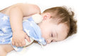 Infant baby boy sleeping. baby sleeping with her teddy bear, new family and love concept Soft focus and blurry . Healthy child, sw