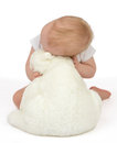 Infant child baby girl hugging soft teddy bear sleeping on a white background Stock Images