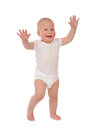 Infant child baby kid toddler make first steps isolated on a white background Stock Photography