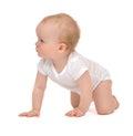 Infant child baby toddler sitting crawling backwards happy smili Royalty Free Stock Photo
