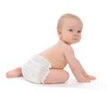 Infant child baby toddler sitting crawling backwards Royalty Free Stock Photo