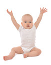 Infant child baby toddler sitting hands up Royalty Free Stock Photo