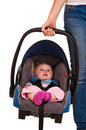 Infant child sitting in car seat Royalty Free Stock Image