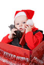 Infant in christmas box #3 Stock Photography