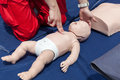 Infant CPR manikin first aid Royalty Free Stock Photo