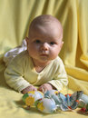 Infant and easter eggs Royalty Free Stock Photos