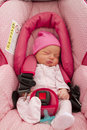 Infant in her Car Seat Royalty Free Stock Photo