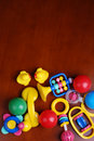 Infant rings and colorful balls Royalty Free Stock Photo