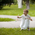 Infant's first steps Royalty Free Stock Photo
