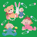 Infants babies a boy and a girl with toys veselm bear bunny Royalty Free Stock Photo