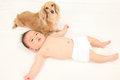 Infants and dog Royalty Free Stock Photo