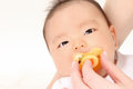 Infants and pacifier Royalty Free Stock Photo