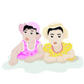 Infants playing together on white background illustration of Royalty Free Stock Photo