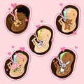 Infants in the womb of different nationalities. Vector collection.