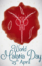 Infected Blood with Plasmodium and Mosquito Head for Malaria Day, Vector Illustration