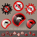 Infected mosquito icon awareness vector set in stamp shape