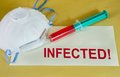 Infected sign protective mask syringe with blood sample and text on an envelope Stock Photography
