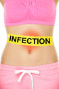 Infection word written on stomach body problem with yellow warning sign and red rash area internal organs lower crop of female Stock Photos