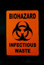 Infectious waste an warning sign against a black background Stock Images