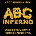 Inferno ABC. Hell font. Fire letters. Sinners in hellfire. helli Royalty Free Stock Photo