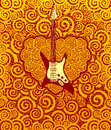 Inferno music guitar heart flame swirl roses background vector illustration Stock Images