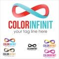 Infinit logo concept colorful brush symbol illustration Stock Image