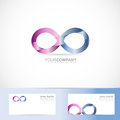 Infinite infinity d logo design concept vector template of sign with business card Royalty Free Stock Photography