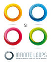 Infinite loop vector design elements impossible with five surfaces and color shades easily editable with global color swatches Royalty Free Stock Photo