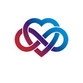 Infinite Love concept, vector symbol created with infinity loop Royalty Free Stock Photo