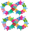 Infinity 8 shape puzzle pieces isolated shadow Royalty Free Stock Photo