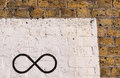 The infinity symbol drawn in black on a brick wall Royalty Free Stock Photo