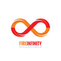 Infinity - vector logo template concept illustration in flat style. Abstract fire flame shape creative sign. Design element Royalty Free Stock Photo