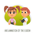Inflammation of the elbow medical concept. Vector illustration.