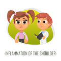 Inflammation of the shoulder medical concept. Vector illustratio