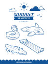 Inflatable air mattress icon set. Summer outline icons with clouds and sun. Whale, crocodile, flamingo and basic retro simple matt