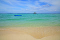 Inflatable boat floating on Andaman sea Royalty Free Stock Photo