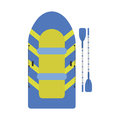 Inflatable boat with paddles icon. Boat for fishing on white background. Vector illustration