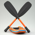 Inflatable boat with two oars on grey background Royalty Free Stock Photo